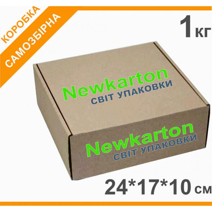 Самозбірна коробка з друком 1кг - 24х17х10см, аналог Нової Пошти
