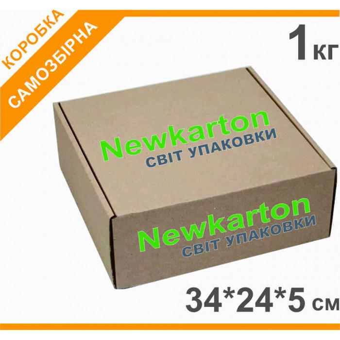 Самозбірна коробка з друком 1 кг - 34х24х5см, аналог Нової Пошти