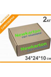 Самозбірна коробка з друком 2кг - 34х24х10см, аналог Нової Пошти